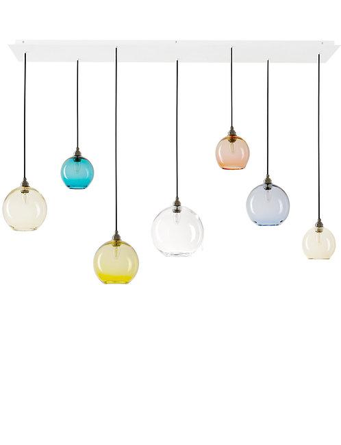 7 Light Pendant Rectangular Panel (Globes)
