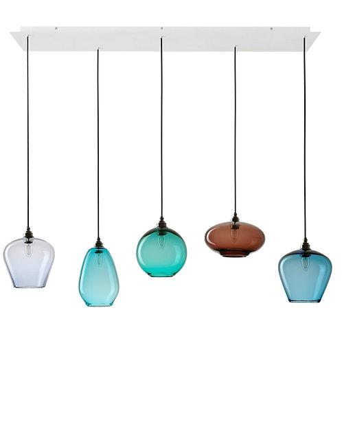 5 Light Pendant Rectangular Panel (Mix)