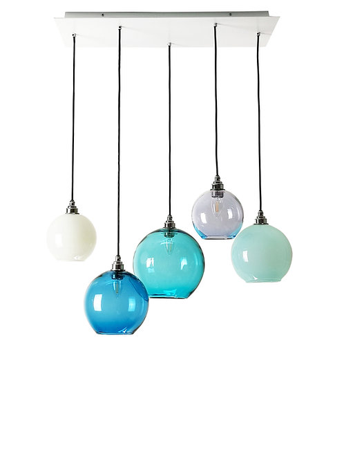 5 Light Pendant Rectangular Panel (Globes)