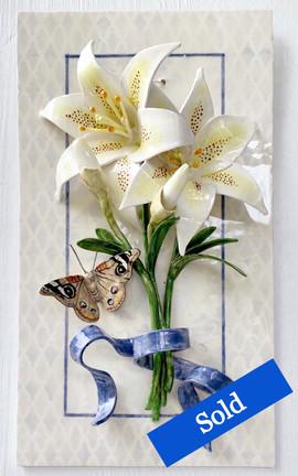 White Lilies with Buckeye Moth