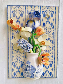 Spring Bouquet in Blue and White Vase