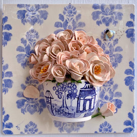 Bowl of Roses in Chinese Pot