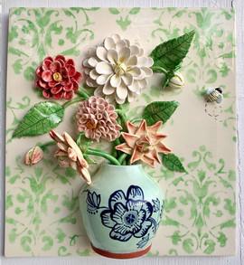 Dahlias in Delft Pot
