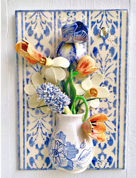 Large Spring Bouquet in Blue and White Vase