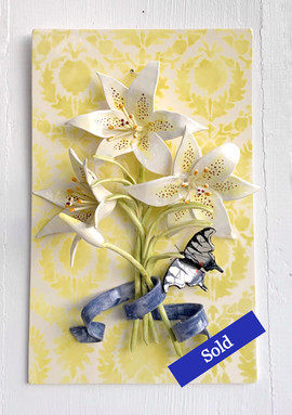 White Lilies with Swallowtail