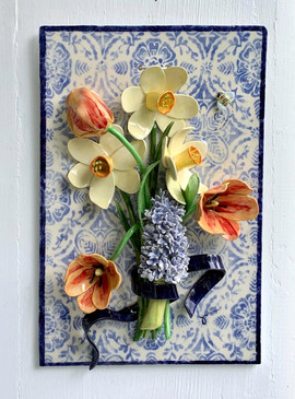 Spring Bouquet on Mexican Tile
