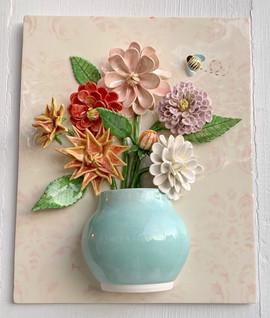 Dahlias in Jade Pot