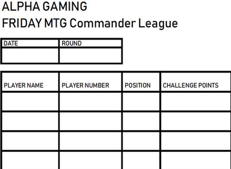 Alpha Gaming Commander League #1
