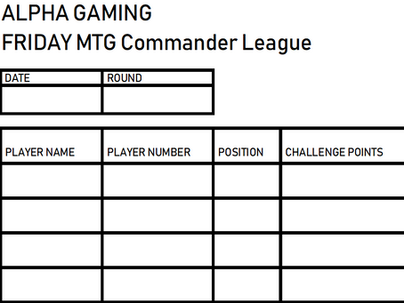 Alpha Gaming Commander League #1
