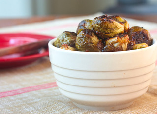 Roasted brussel sprouts with sherry-mustard vinaigrette