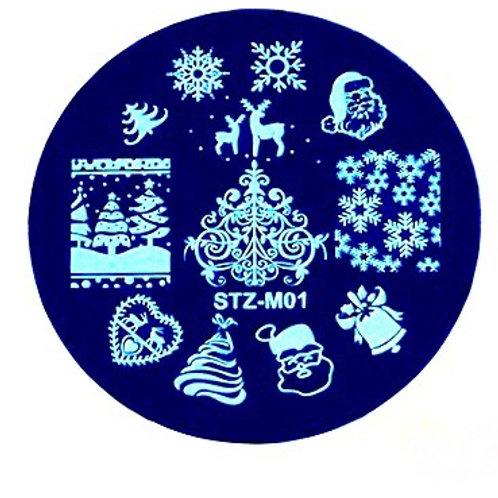 Christmas Nail Art Stamping Plate STZ-M01