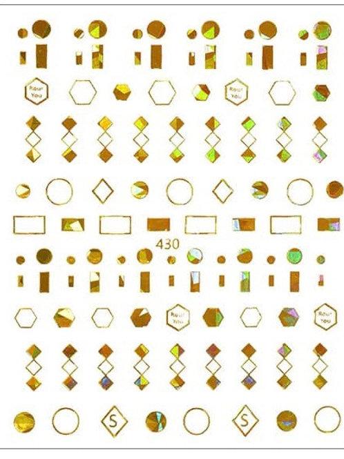 Gold Holo #430- 3D Nail Decoration Sticker