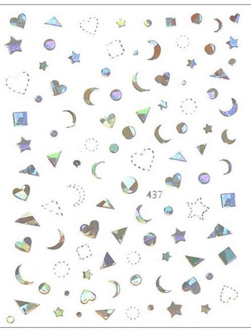 Silver Holo #437- 3D Nail Decoration Sticker