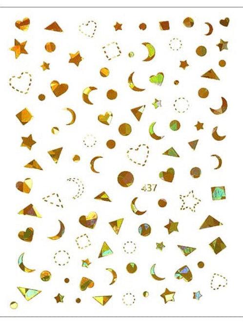 GOLD Holo #437- 3D Nail Decoration Sticker