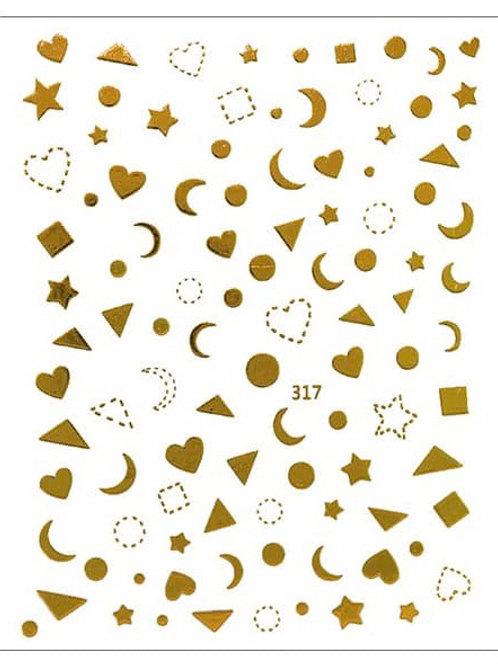 Gold #317-3D Nail Decoration Sticker