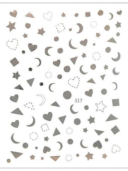 Silver #317- 3D Nail Decoration Sticker