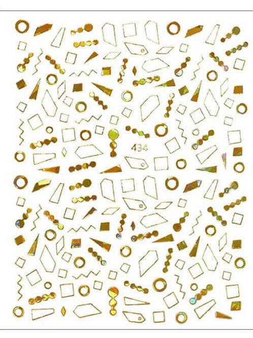 Gold Holo #434- 3D Nail Decoration Sticker