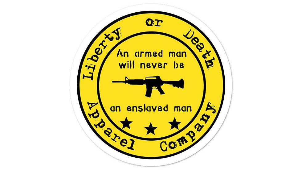 An armed man... sticker