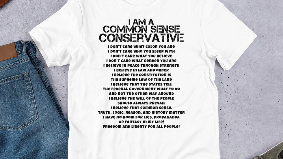 Common Sense Conservative Just The Front Short-Sleeve Unisex T-Shirt