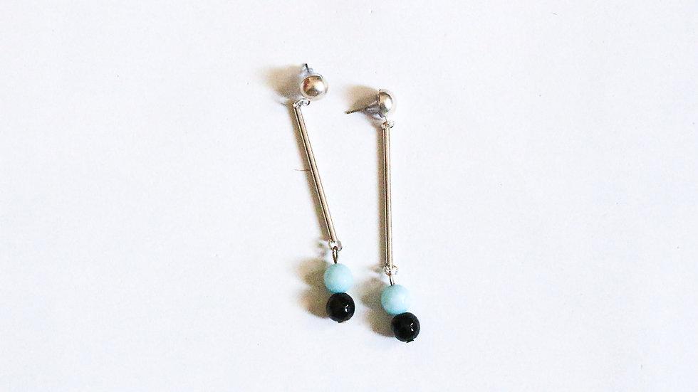 BLUE + BLACK CRYSTAL EARRING