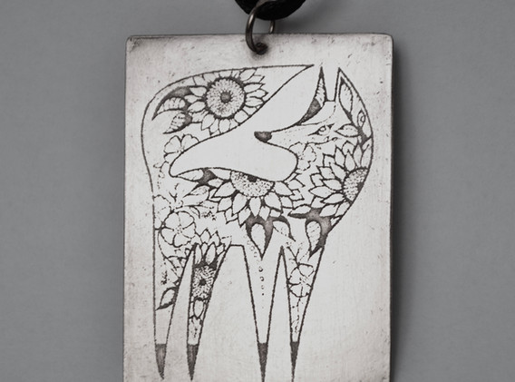 Etched Sterling Silver Pendant