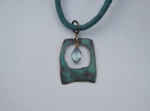 Encaustic on Steel & Aqua Marine on felted wool cord necklace