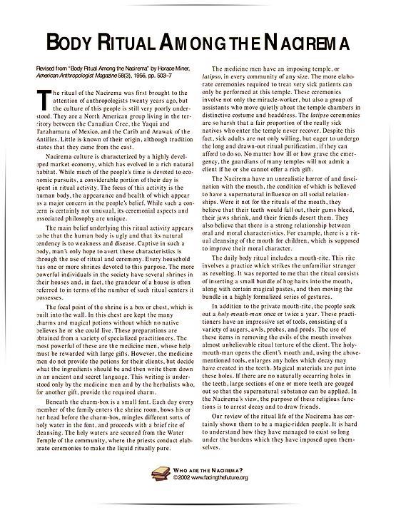 nacirema tribe article
