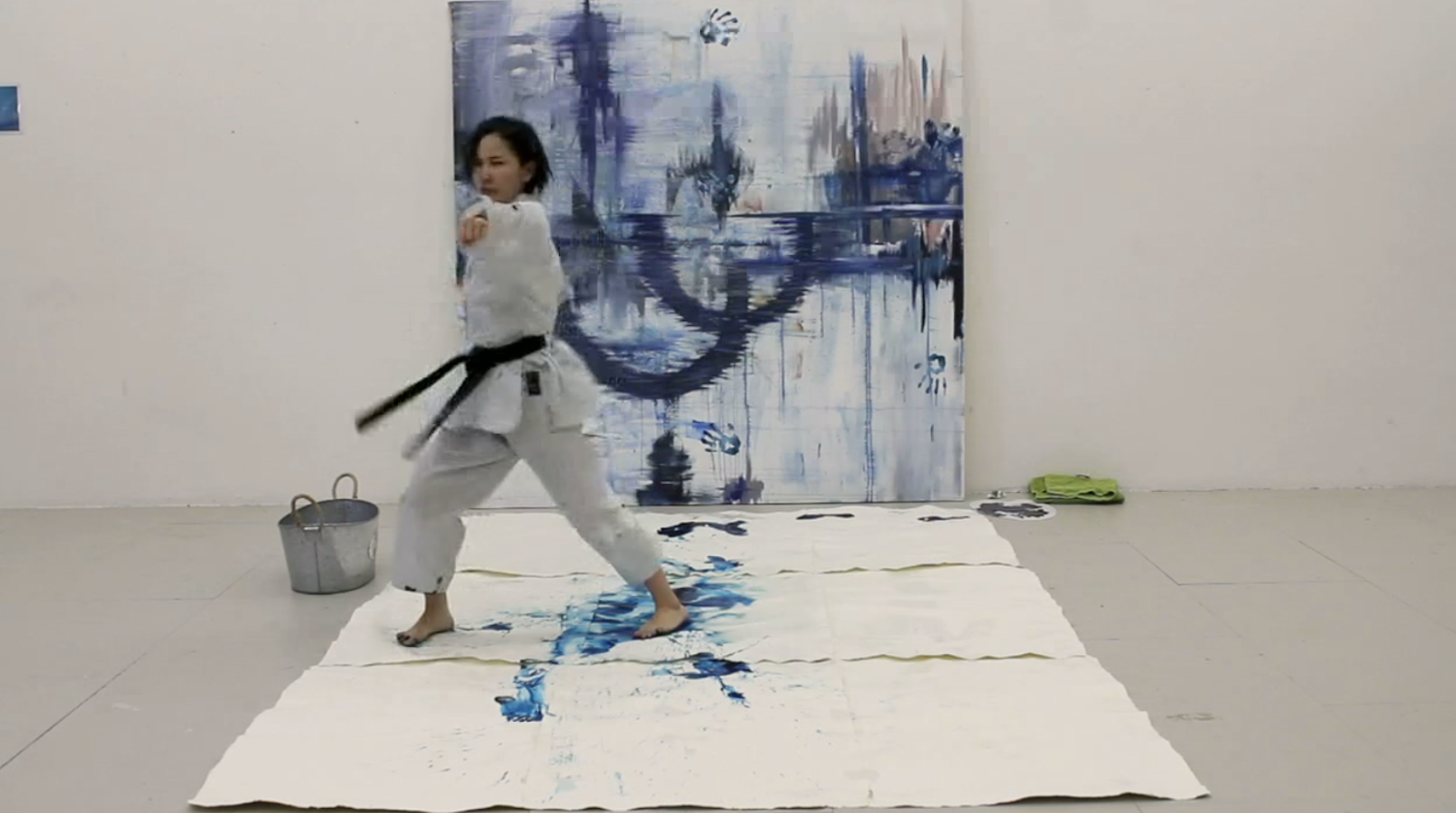 Karate painting performance