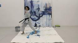 Karate painting performance