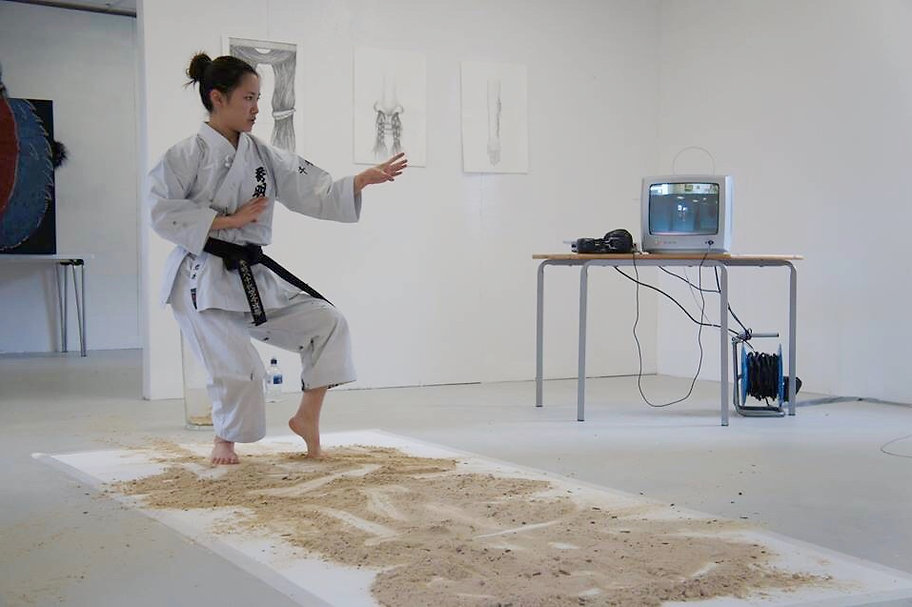 Karate sand painting performance