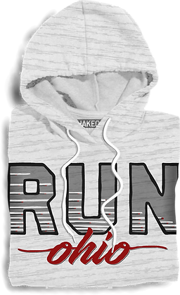 Retro Run Ohio Hooded Fleece (Red/Grey)