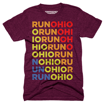 Run Ohio Multi-Colored Maroon Tee Shirt (Original)