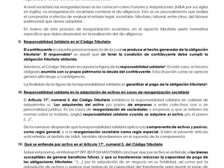Responsabilidad Solidaria por la Adquisición de Activos en el caso de reorganización societaria