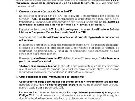 Obligaciones de la empresa en caso de fallecimiento de trabajador