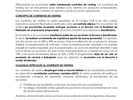 EL CONTRATO DE VESTING: NUEVO CONTRATO EN EL DERECHO SOCIETARIO