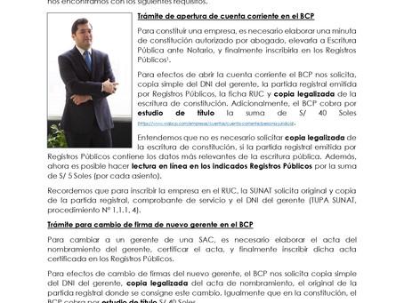 BCP: LOS PRIVADOS TAMBIEN CREAN ALTOS COSTOS PARA LA FORMALIDAD