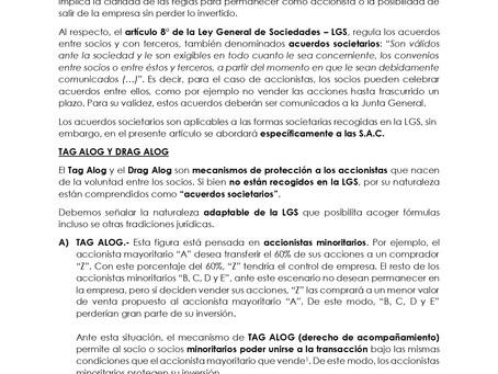 ACUERDOS ENTRE SOCIOS: TAG ALOG Y DRAG ALOG