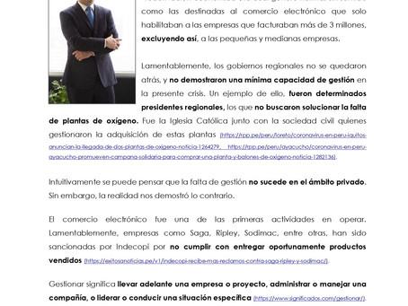 EN PERU LA ADMINISTRACION PUBLICA Y LA GRAN EMPRESA PRIVADA GESTIONAN MAL