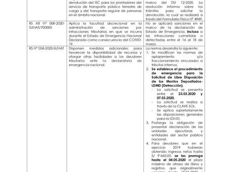 Normas Tributarias extraordinarias del 18.03.2020 vinculadas a materia tributaria