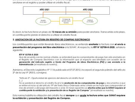 ANOTACION DE LA FACTURA EN EL REGISTRO DE COMPRAS ELECTRONICO Y LA UTILIZACION DEL CREDITO FISCAL