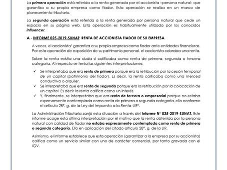 Operaciones Generadoras de Renta Empresarial: Accionista Fiador y Cesión de espacios en Web