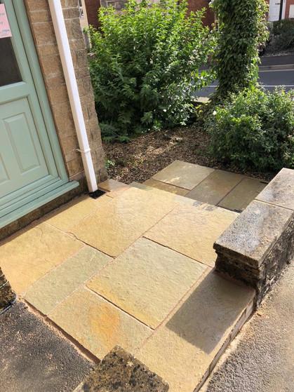 Yellow Limestone Front Porch