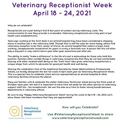 Veterinary Receptionist Week Information