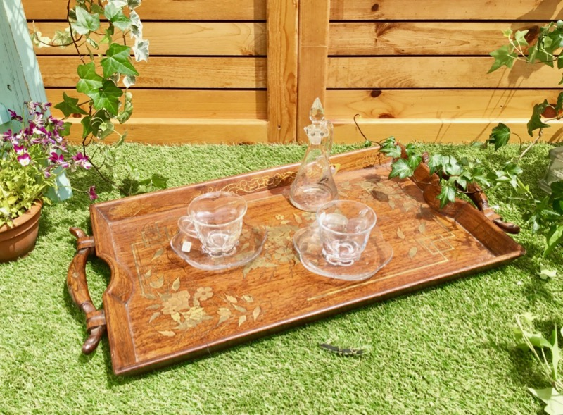 Copper in laid Table tray 1910年代