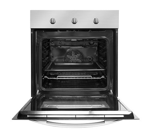 Electric oven with open door, isolated o