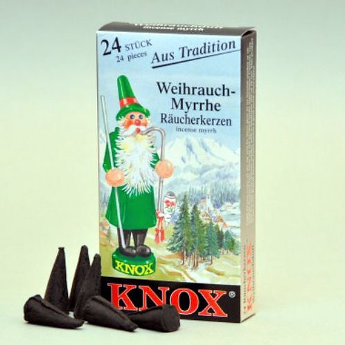 "#013-120 - Famous KNOX Brand ""Myrrh"" Incense Cones - Box of 24"