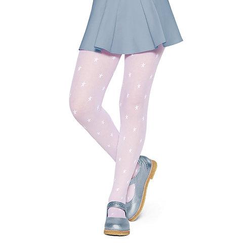 Meia Calça Rosa Claro Estrelinhas