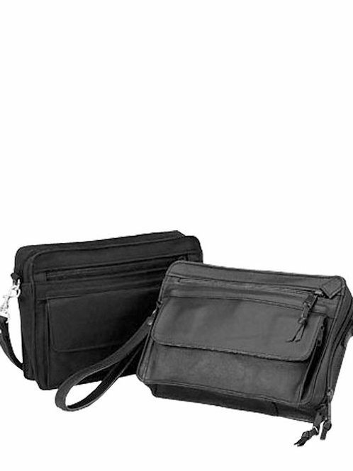 DUAL COMPARTMENT LEATHER WRISTLET