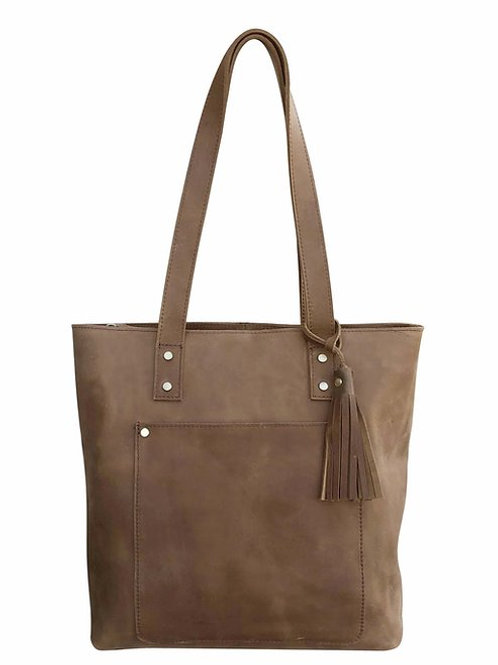 DISTRESSED LEATHER CONCEALMENT TOTE
