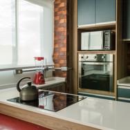 cozinha decorada vermelha